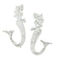 Mermaid Cast Iron Wall Hooks - Set of 2 - Whitewash Antique Finish - Hangers for Coats, Aprons, Hats, Towels, Pot Holders,...