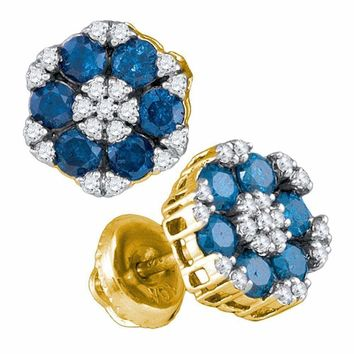 10kt Yellow Gold Women's Round Blue Color Enhanced Diamond Cluster Screwback Earrings 1.00 Cttw - FREE Shipping (USA/CAN)