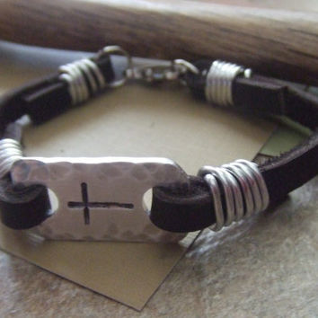 Men's Leather Cross Bracelet - Hand Stamped Christian Jewelry - Confirmation First Communion Baptism