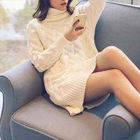 High collar Fashion Solid Color Knit Loose Top Sweater Pullover