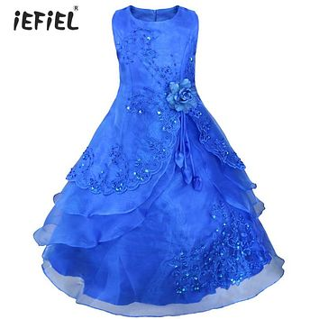 Kids Flower Girl Dress Embroidered Pageant Party Wedding Bridesmaid Ball Gown Prom Princess Formal Occassion Long Dress 4-14Y