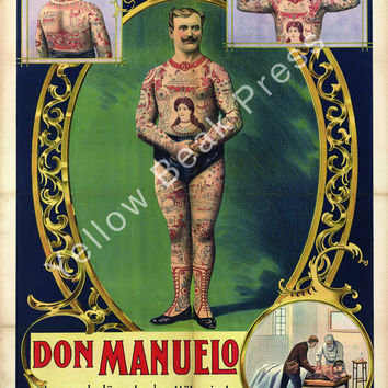 "Vintage ""Don Manuelo"" Tattooed Strongman Poster Print"