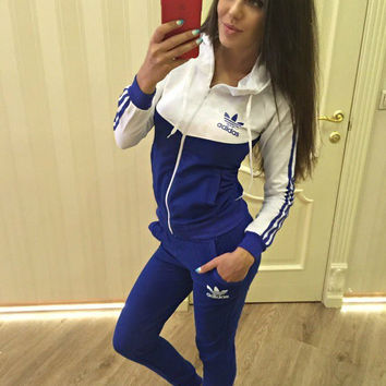 "2016 ""Adidas""Fashion Hooded Patchwork Stylish Sports Sportswear Set"