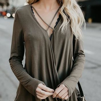 Grey Cut Out Long Sleeve V-neck Going out T-Shirt