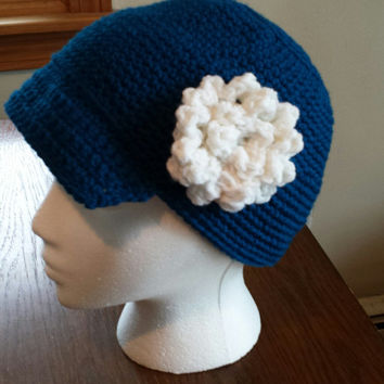 Women's visor beanie with flower or without crochet handmade