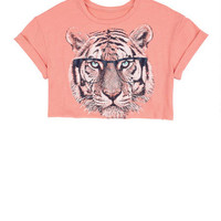 Tiger Face Rollback Crop  Tee
