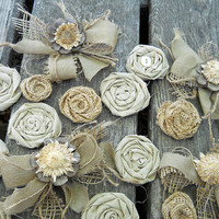 Bulk SALE, 28 Natural Tone Country Burlap & Fabric Flowers, diy weddings, bouquet making, cake toppers, mason jar flowers. Ready to Ship!