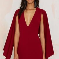 Kendra Plunging Cape Dress