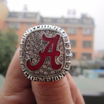 NCAA 2015 Alabama Crimson Tide Football National Championship Ring Solid Fan Brithday Gift  Hi