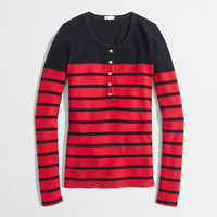 FACTORY STRIPE GOLD-BUTTON WAFFLE HENLEY