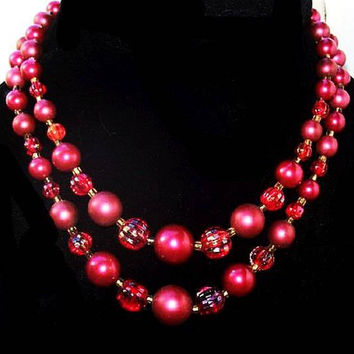 "Marsala Wine Japan Beaded Necklace 2 Strands Glass & Lucite Gold Clasp 16.5"" Vintage 1950s"