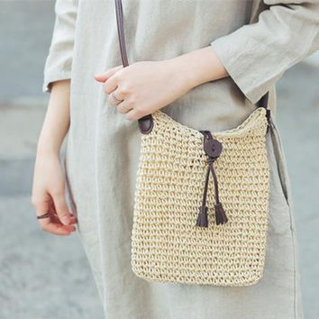 2016 Newest Fashion Woven Shoulder Bags Straw Summer Women Weave Crossbody Burlap Jute Pouches Beach Small Travel Handbag