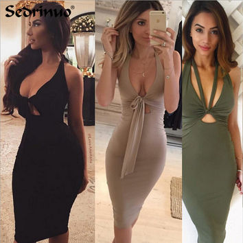 2017 Sexy Women Dress Plunge deep V Neck Sleeveless Lace Up Bodycon Bandage Dress Midi Clubwear Party black Dresses Vestidos