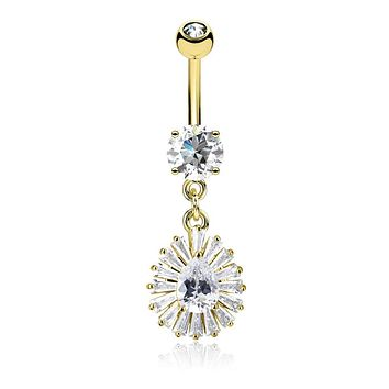 Pear CZ Center and Princess Cut CZ Around Dangle CZ Prong Set 316L Surgical Steel WildKlass Belly Rings