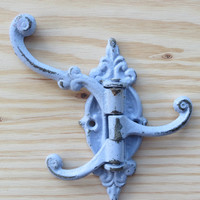 Metal Hook / Wall Hook / French Cottage / Sage Green/ Mud Room /Towel Hook/ Bath hook / Ornate Wall Hook / 3 Hook Swivel/ Swing Hook