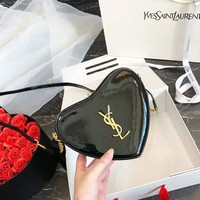 YSL Women New Fashion High Quality Leather Tassel Women Love Heart Shoulder Bag Black