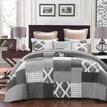 DaDa Bedding Classical Geometric Shades of Grey Reversible Real Patchwork Quilted Coverlet Bedspread Set (JHW-606)