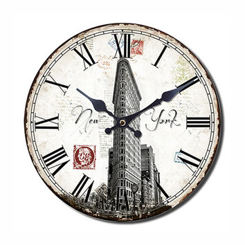 NEW YORK Wall Clock Retro Style 13.50x13.50 Inches - White Pattern - Unique Wall Clock - Retro Home Decor