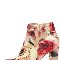 Rose Ceremony Beige Floral Velvet High Heel Booties