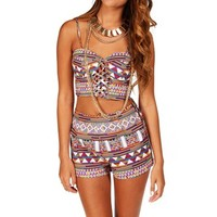 Pre-Order: Orange Tribal Crop Bustier