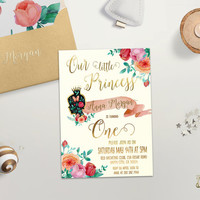 Birthday Invitation Printable First Birthday Invitation Our Princess 1st Birthday Invitation Girls Kids Floral Birthday Invite Digital FIle