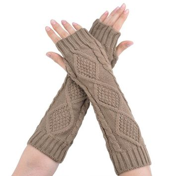 Gloves Knitted Long Arm Wool Fingerless Glove Half Sleeves