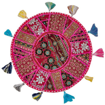 """17"""" Patchwork Round Floor Pillow Cushion in Pink round embroidered Bohemian Patchwork floor cushion pouf Vintage Indian Foot Stool ottoman"""