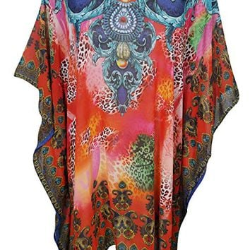 Women's Sofia Caftan Short Dress Beach Cover Up Summer Fling Neck Jewels One Size: Amazon.ca: Clothing & Accessories