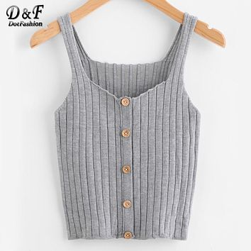 Ladies Button Up Rib Knit Plain Top New Arrival Scoop Neck Vacation Vest Woman Autumn Skinny Casual Camisole