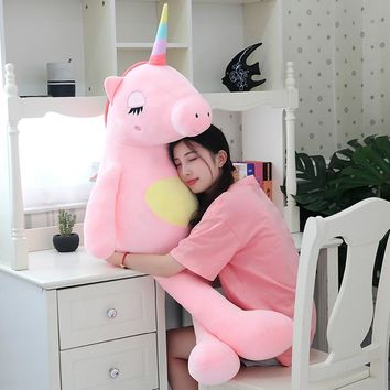 1pc 60cm-140cm New Unicorn Plush Toy Fabric Is Soft And Comfortable Toy For Children As A Pillow And Birthday Present