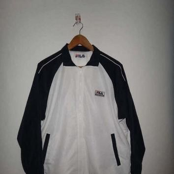 15% OFF Sale Rare Vintage 1990's Fila Biella Italia International White Running Jacket