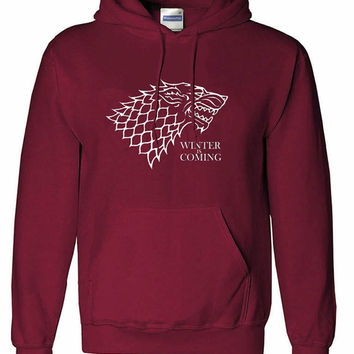 Winter is coming crew neck shirt unisex womens mens ladies  print  Hoodie sweatshirt, pullover sweater jumper game of thrones, jon snow