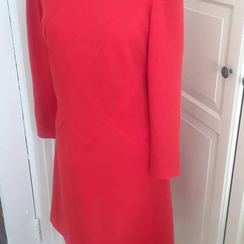 1960s Lipstick Red Dress, Shift, A Line, Architectural Seaming, Knit, Mod, Size M/L, 40B