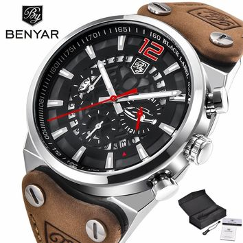 BENYAR Chronograph Men Wrist Watches Army Military Genuine Leather Strap Top Luxury Brand Date Calender Quartz Clock Gift (with