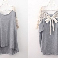 Grey  Cute Short Sleeve  Lace Back Loose T-shirt