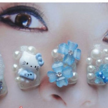 kawaii hello kitty fake nail.3D.flower.jewelry