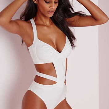 Missguided - Strappy Bandage Swimsuit Ivory