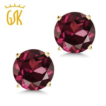 deluxe edition real red Garnet jewelry 2.00 Ct Round 6mm Red Rhodolite Garnet 14K Yellow Gold Stud Earrings natural high quality
