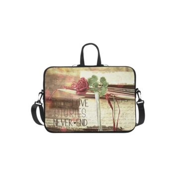 Personalized Laptop Shoulder Bag True Love Stories Never End With Vintage Red Rose Handbags 11 Inch