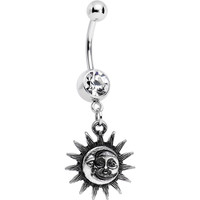 Clear Gem Sun Meets Moon Celestial Dangle Belly Ring