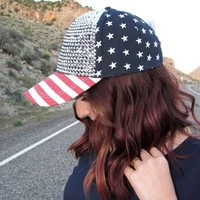 American Flag Bling Hat - 2 Colors