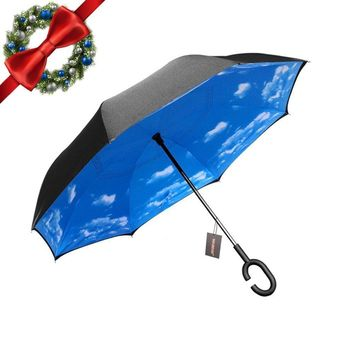 WASING Inverted Umbrella Double Layer Windproof Reverse Umbrella for Car and Outdoor Use