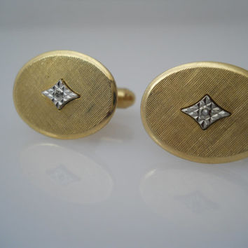 Artisan Cufflinks 1/20 12k GF Oval Marcasite Center Toggle c 1960s