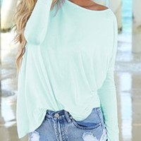 Mint Piko Bamboo Long Sleeved T-Shirt Loose Slouch Boat Neck Classic