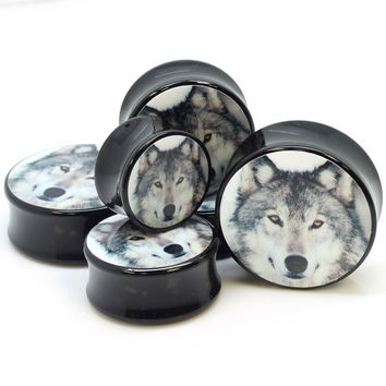 0G thru 11mm  Wolf Ear Gauge Custom Logo Plug by CustomPlugLife