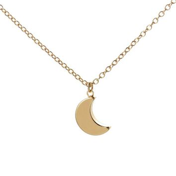 2016 New Gold Minimalist Crescent Moon Necklace Plain Half Moon Pendant Necklaces for Women Long Necklace Gifts N187