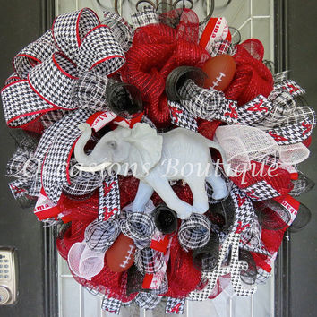 Alabama Football Wreath, Door Hanger, Crimson Tide, Roll Tide, SEC, Houndstooth, Football Decoration, Football Party
