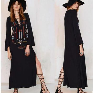 Fashion Retro Ethnic Embroidery Straps V-Neck Long Sleeve Irregular Maxi Dress