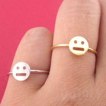 Expressionless Smiley Meh Indifferent Face Emoji Themed Adjustable Ring