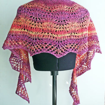 Handspun Knit Shawl, Handdyed Knitted Shawlette, Merino/ Silk Wrap, Pink Purple Yellow Orange Lacy Variegated Shawl, Space Dyed Shawl